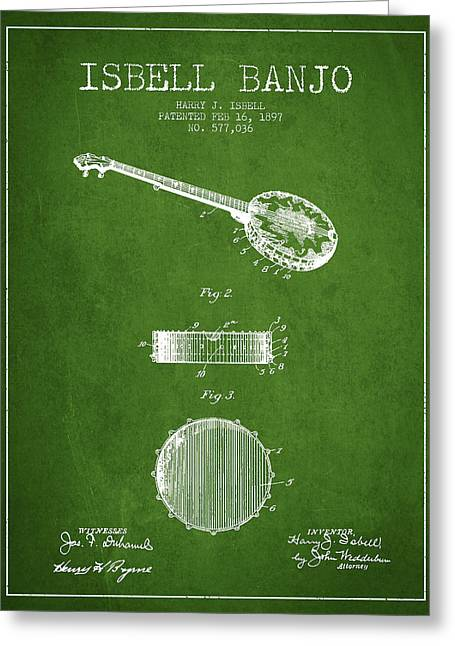 Banjo Greeting Cards - Isbell Banjo Patent Drawing From 1897 - Green Greeting Card by Aged Pixel