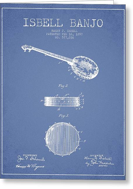 Banjo Greeting Cards - Isbell Banjo Patent Drawing From 1897 - Light Blue Greeting Card by Aged Pixel