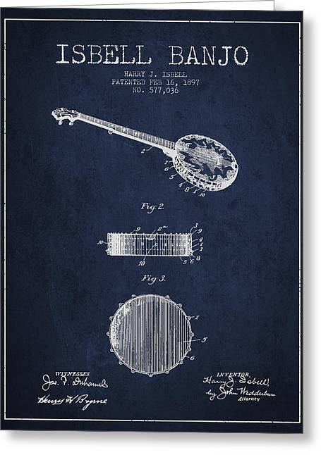 Banjo Greeting Cards - Isbell Banjo Patent Drawing From 1897 - Navy Blue Greeting Card by Aged Pixel