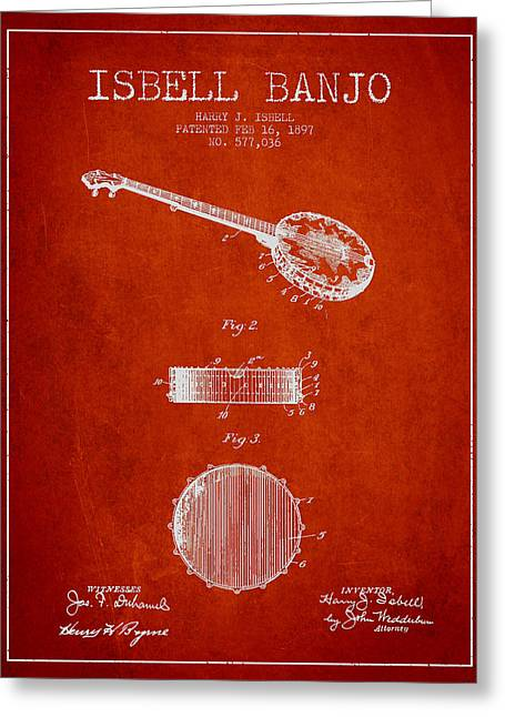 Banjo Greeting Cards - Isbell Banjo Patent Drawing From 1897 - Red Greeting Card by Aged Pixel