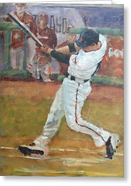 Baseball Paintings Greeting Cards - Ishikawa NLCS Shot Greeting Card by Darren Kerr