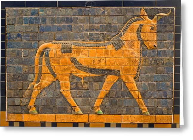 Sacred Bull Greeting Cards - Ishtar bull Greeting Card by Dennis Cox WorldViews
