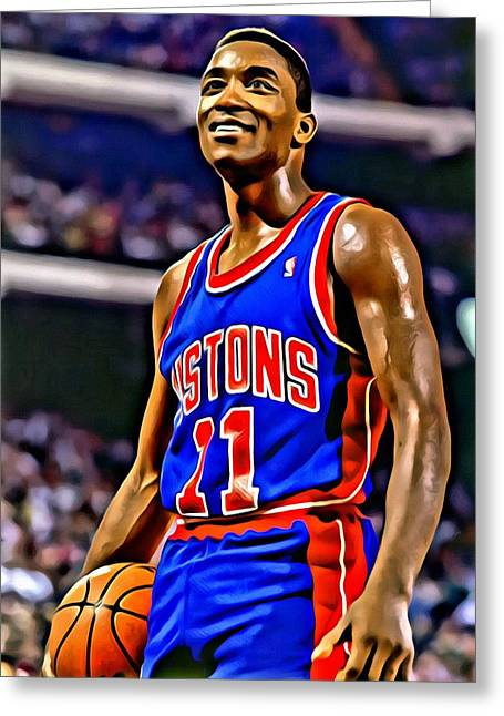 Slamdunk Greeting Cards - Isiah Thomas Greeting Card by Florian Rodarte