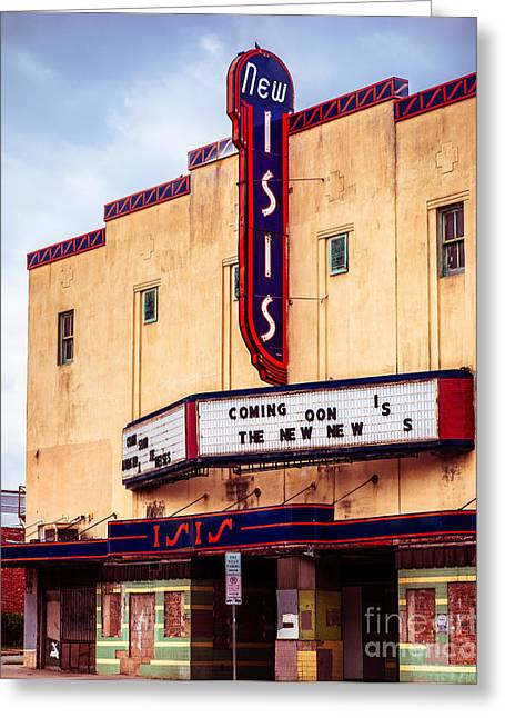 Movie Theatre Greeting Cards - Isis Theatre Fort Worth Greeting Card by Sonja Quintero