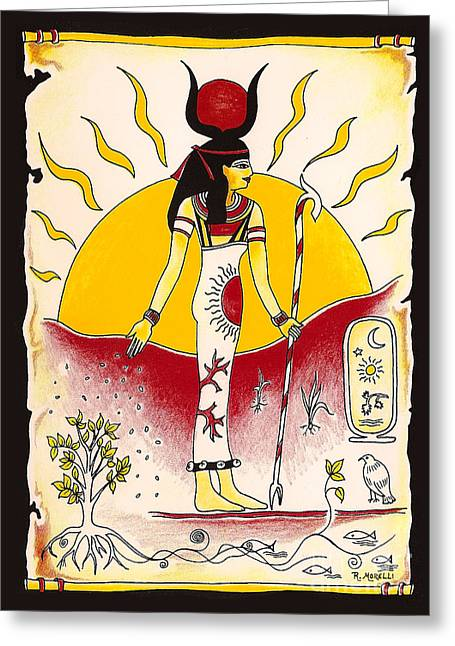 Egyptian Sarcophagus Greeting Cards - Goddess Isis Winter Solstice Greeting Card by Rosemarie Morelli