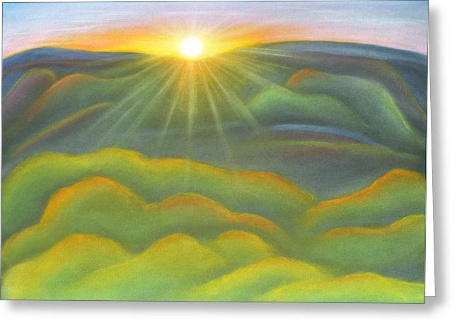 Sunset Greeting Cards Pastels Greeting Cards - Isla Gorge Sunset Greeting Card by Judith Chantler
