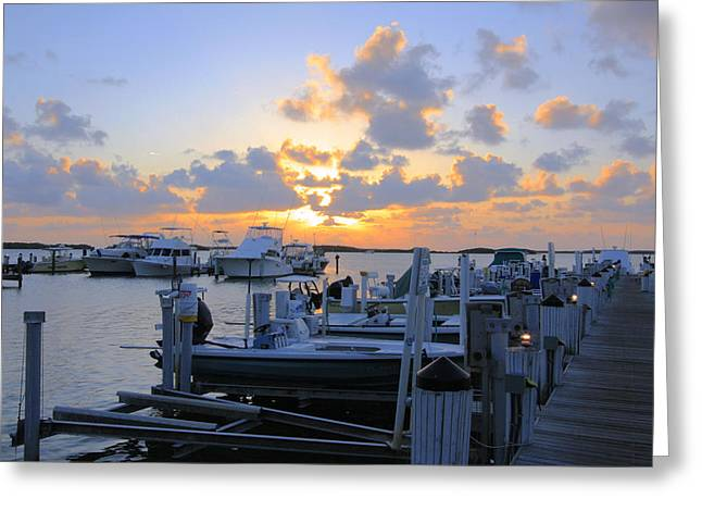 Isla Morada Greeting Cards - Isla Morada marina sunset Greeting Card by Manuel Lopez