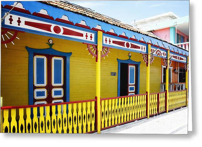Isla Mujeres Greeting Cards - Isla Mujeres Street Colors Greeting Card by George Oze