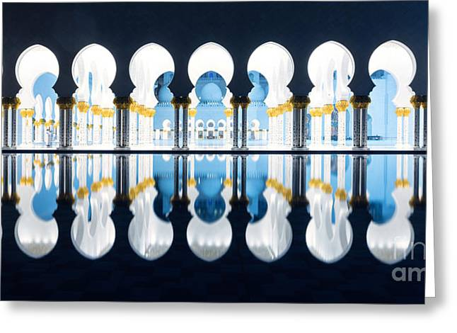 Persian Women Greeting Cards - Islamic architecture of Abu Dhabi Grand Mosque - UAE Greeting Card by Matteo Colombo