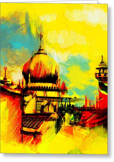 Haj Paintings Greeting Cards - Islamic Painting 001 Greeting Card by Catf