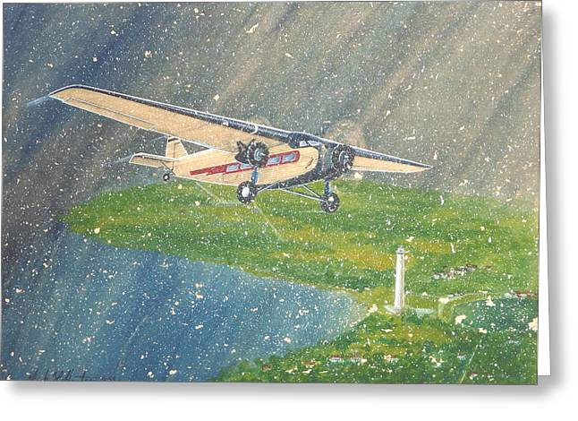 Ford Trimotor Greeting Cards - Island Airlines Ford Trimotor over Put-In-Bay In the Winter Greeting Card by Frank Hunter