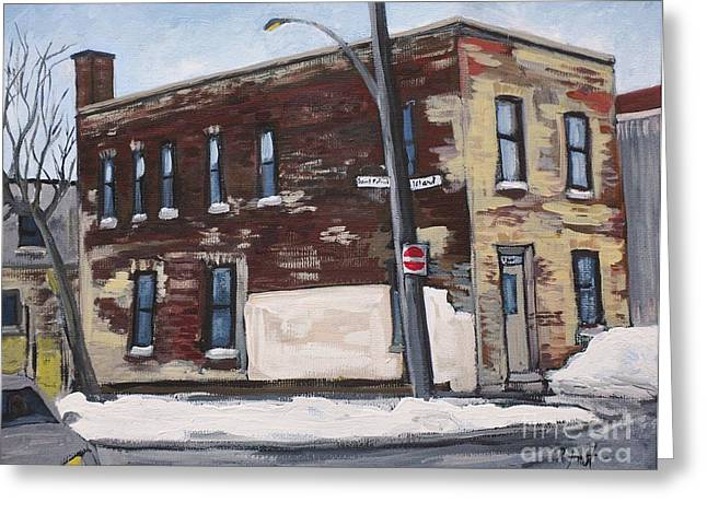 Montreal Artist Paints Verdun Street Scenes Greeting Cards - Island and St. Patrick Pointe St Charles Greeting Card by Reb Frost