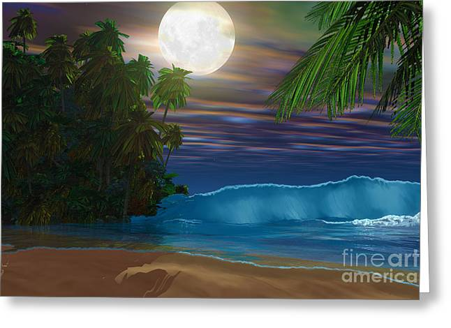 Moon Beach Digital Art Greeting Cards - Island Beach Greeting Card by Corey Ford
