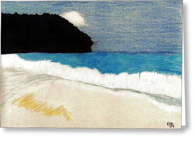 Surf Art Drawings Greeting Cards - Island - Beach Greeting Card by D Hackett