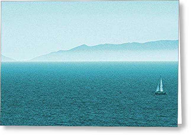 Blue Sailboats Greeting Cards - Island Greeting Card by Ben and Raisa Gertsberg