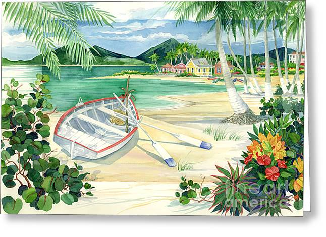Green Canoe Greeting Cards - Island Boats Greeting Card by Paul Brent