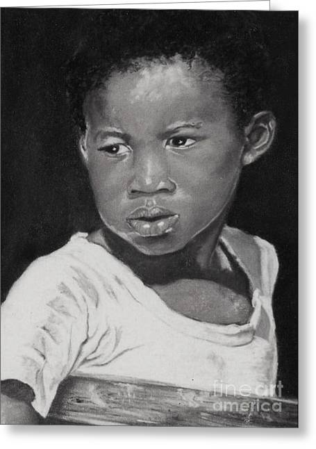 Portrait Pastels Greeting Cards - Island Boy Monochrome Greeting Card by John Clark