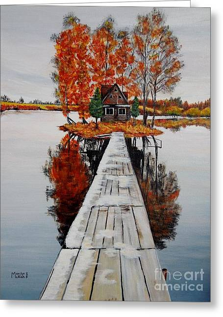 Log Cabins Greeting Cards - Island Cabin Greeting Card by Marilyn  McNish