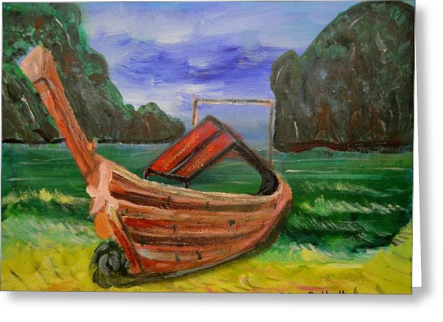 Island Canoe Greeting Card by Louise Burkhardt