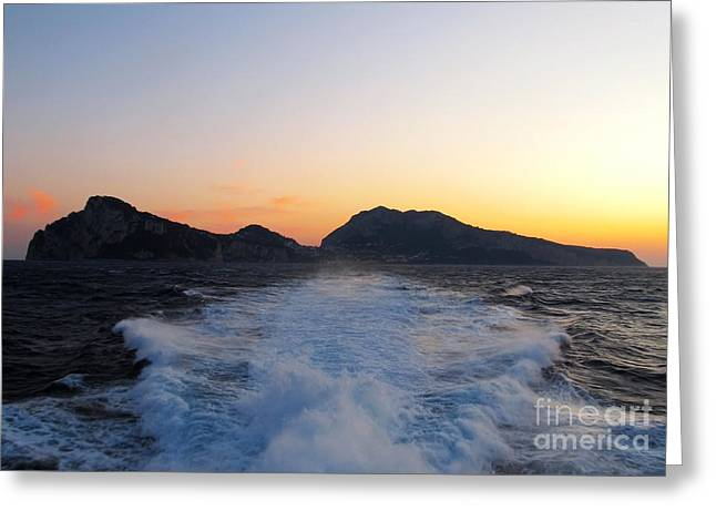 Italian Sunset Greeting Cards - Island Capri at Sunset Greeting Card by Kiril Stanchev