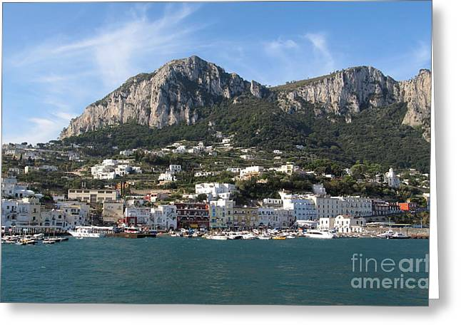 Architectur Photographs Greeting Cards - Island Capri panoramic Sea view Greeting Card by Kiril Stanchev