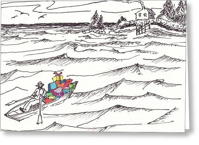 New England Ocean Drawings Greeting Cards - Island Christmas In Coastal Maine Greeting Card by Robert Parsons