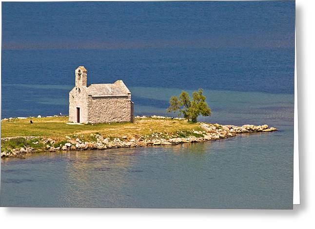 Island church by the sea Greeting Card by Dalibor Brlek