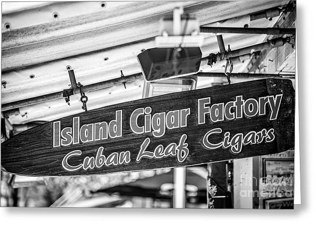 For Factory Greeting Cards - Island Cigar Factory Key West - Black and White Greeting Card by Ian Monk