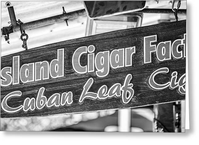 Origin Greeting Cards - Island Cigar Factory Key West - Panoramic - Black and White Greeting Card by Ian Monk
