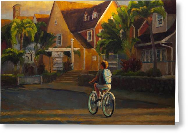 Bicycling Greeting Cards - Island Commute Greeting Card by Jeanne Young