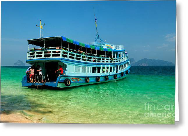Wooden Ship Greeting Cards - Island Ferry  Greeting Card by Adrian Evans