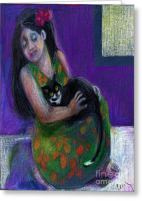 Island Girl And Cat Greeting Card by Cecily Mitchell