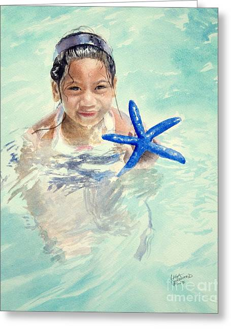 Seastar Paintings Greeting Cards - Island Girl Greeting Card by Lisa Pope