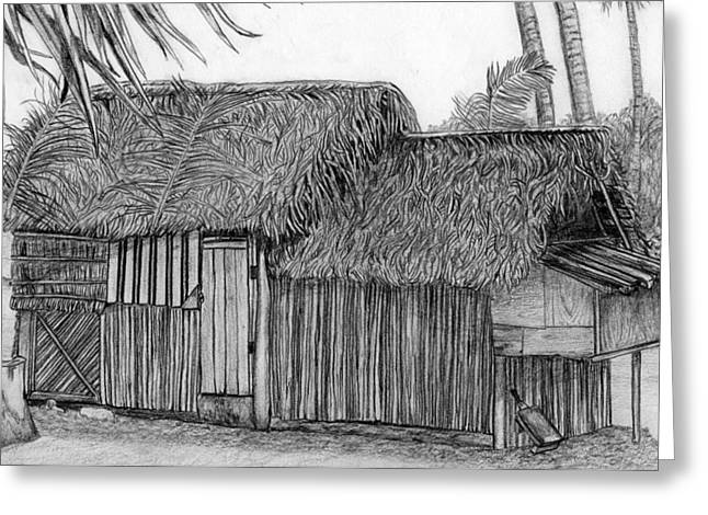 Thatch Drawings Greeting Cards - Island House 1 Greeting Card by Lew Davis