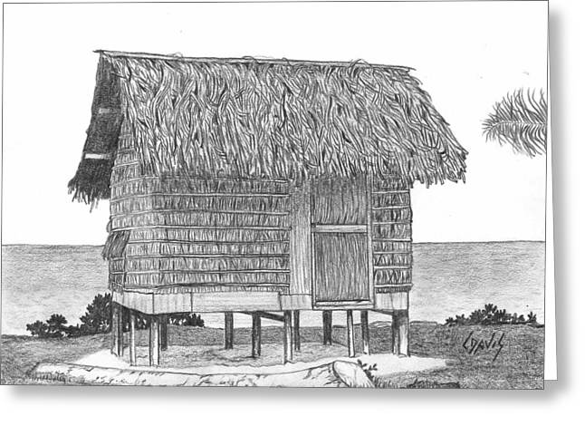 Thatch Drawings Greeting Cards - Island House 11 Greeting Card by Lew Davis