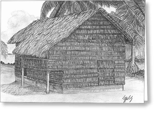 Thatch Drawings Greeting Cards - Island House 12 Greeting Card by Lew Davis