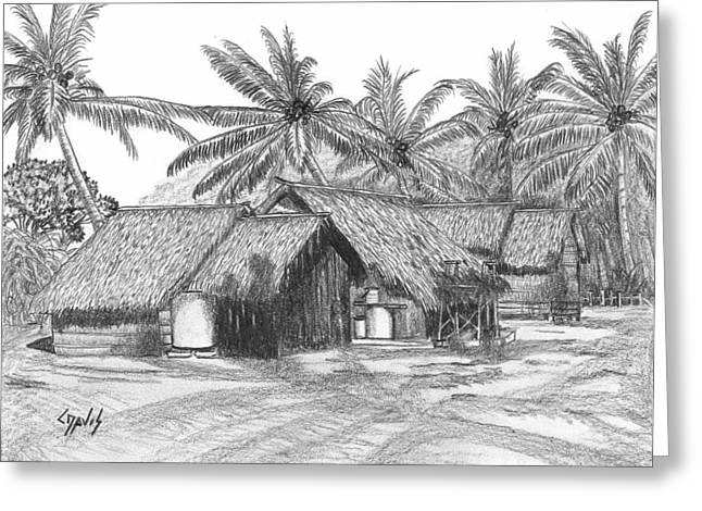 Thatch Drawings Greeting Cards - Island House 13 Greeting Card by Lew Davis