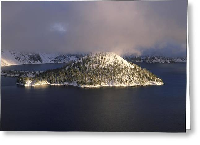 Crater Lake Greeting Cards - Island In A Lake, Wizard Island, Crater Greeting Card by Panoramic Images