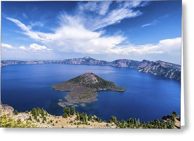 Crater Lake View Greeting Cards - Island in the Lake Greeting Card by Joseph S Giacalone