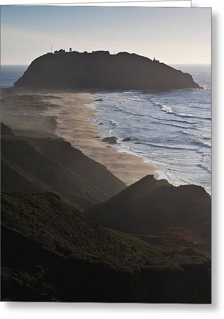 California Ocean Photography Greeting Cards - Island In The Pacific Ocean, Point Sur Greeting Card by Panoramic Images