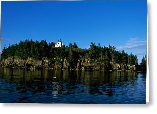 Maine Lighthouses Greeting Cards - Island In The Sea, Bear Island Greeting Card by Panoramic Images