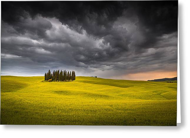 Olive Oil Greeting Cards - Island in the storm Greeting Card by Stefano Termanini