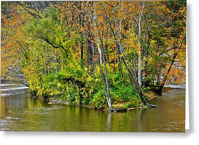 Water Flowing Greeting Cards - Island in the Stream Greeting Card by Frozen in Time Fine Art Photography