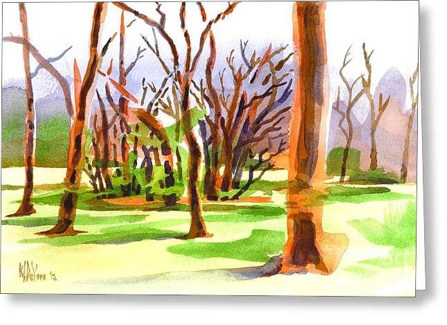 Sienna Greeting Cards - Island in the Wood Greeting Card by Kip DeVore