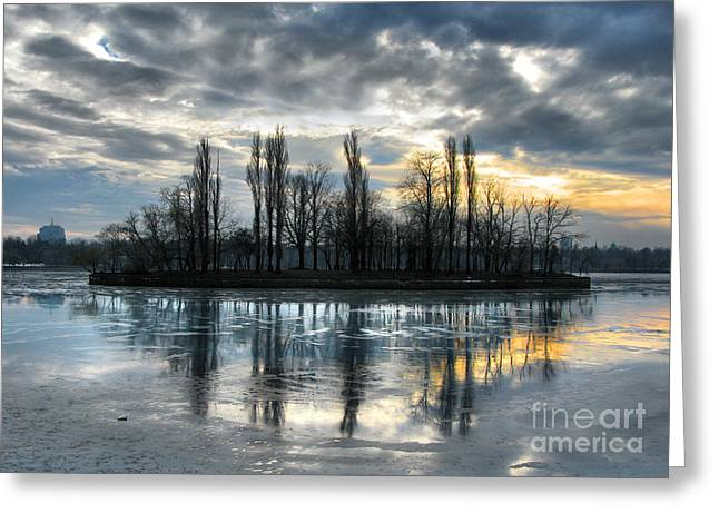 Reflection In Water Greeting Cards - Island in Winter - Reflection Greeting Card by Daliana Pacuraru
