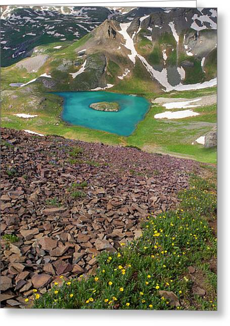 Golden Horn Greeting Cards - Island Lake Vertical Panorama Greeting Card by Aaron Spong
