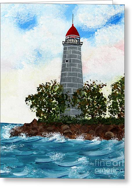 Spiral Staircase Paintings Greeting Cards - Island Lighthouse Greeting Card by Barbara Griffin