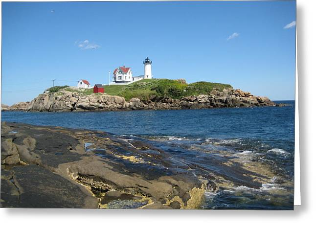 Mainly Blue Greeting Cards - Island Lighthouse Greeting Card by Melissa McCrann