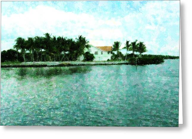 Florida House Mixed Media Greeting Cards - Island Living Greeting Card by Florene Welebny