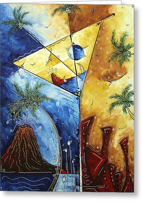 Martini Greeting Cards - ISLAND MARTINI  Original MADART Painting Greeting Card by Megan Duncanson